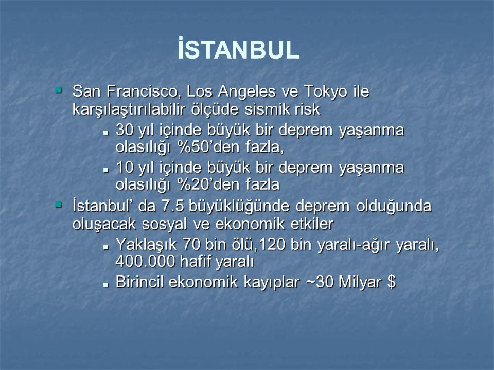 İSTANBUL San Francisco, Los Angeles ve Tokyo ile karşılaştırılabilir ölçüde sismik risk.