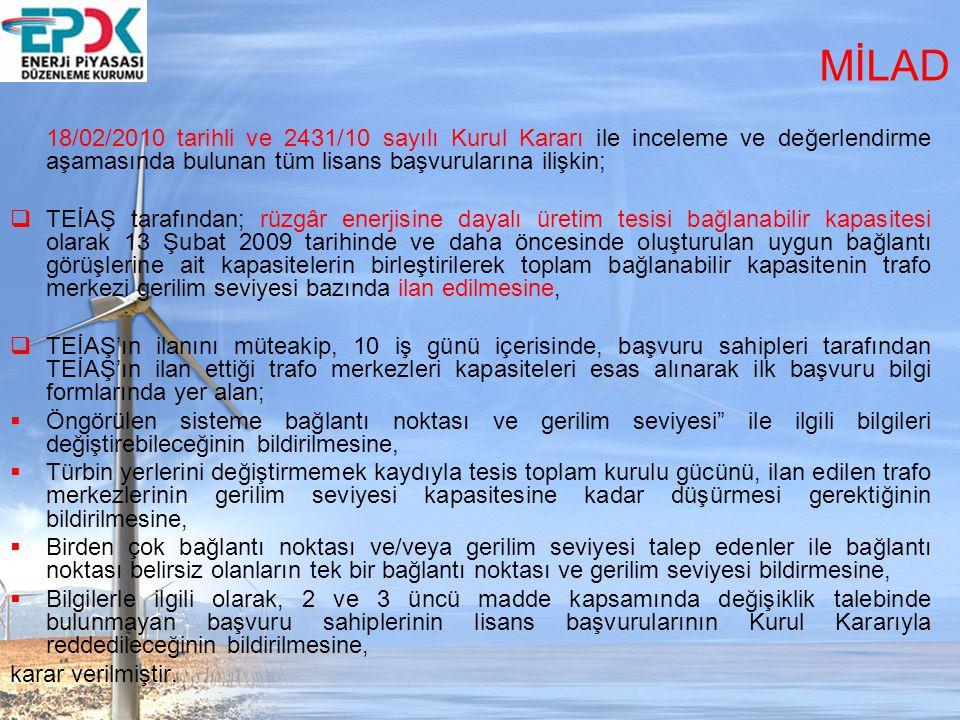 MİLAD 18/02/2010 tarihli ve 2431/10 sayılı Kurul Kararı ile inceleme ve değerlendirme aşamasında bulunan tüm lisans başvurularına ilişkin;