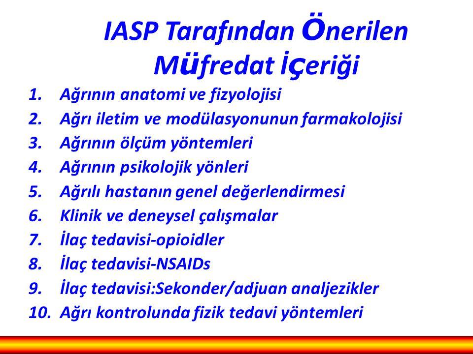 IASP Tarafından Önerilen Müfredat İçeriği