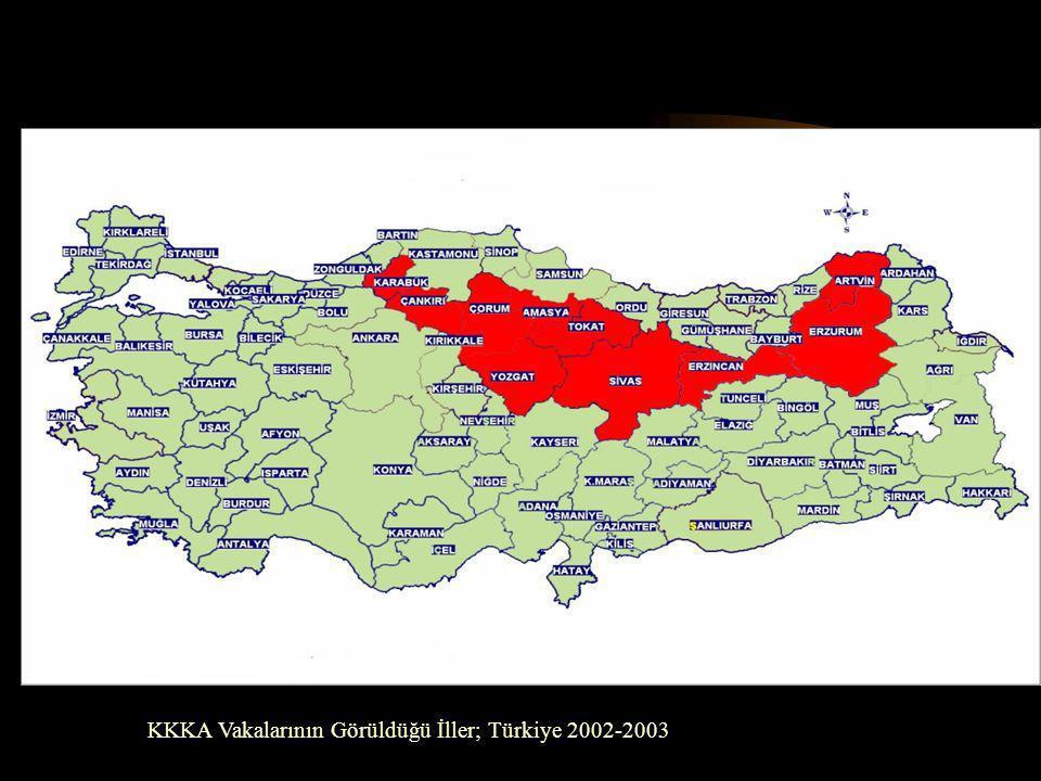 KKKA Vakalarının Görüldüğü İller; Türkiye 2002-2003