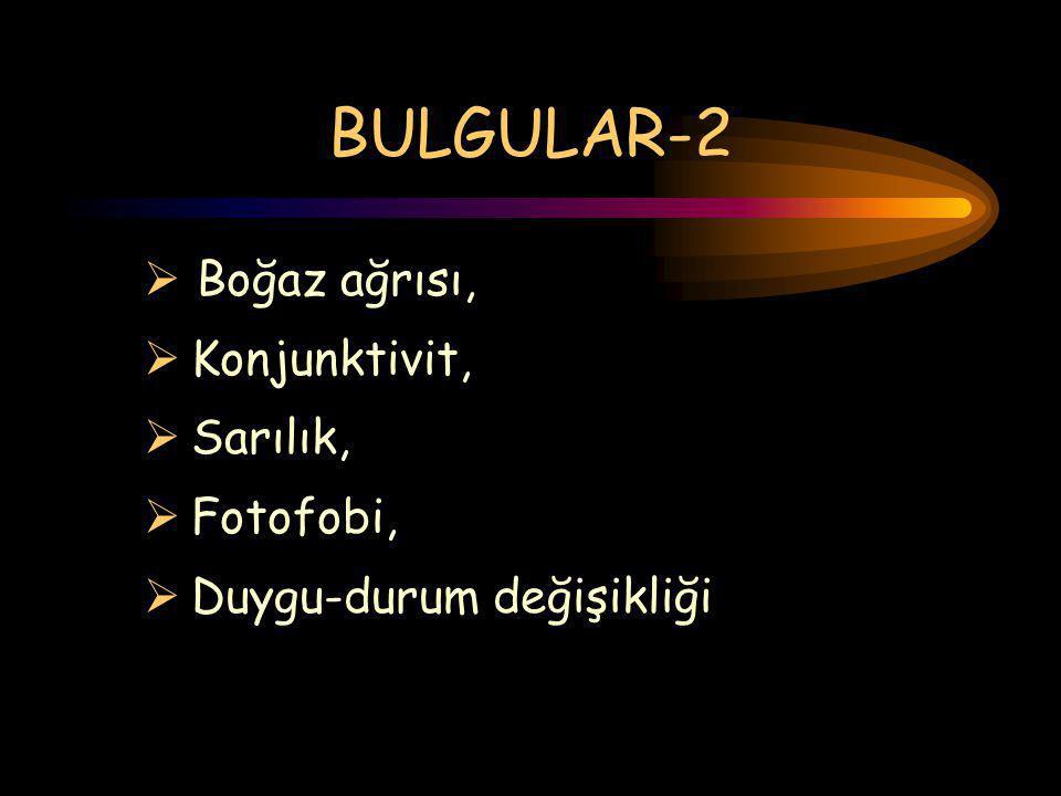 BULGULAR-2 Boğaz ağrısı, Konjunktivit, Sarılık, Fotofobi,