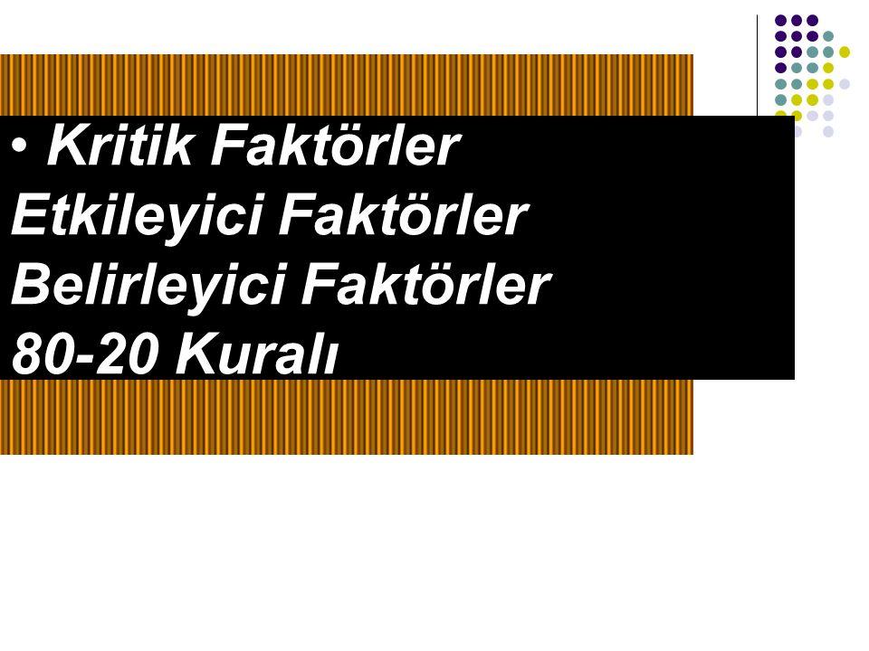 Etkileyici Faktörler Belirleyici Faktörler 80-20 Kuralı