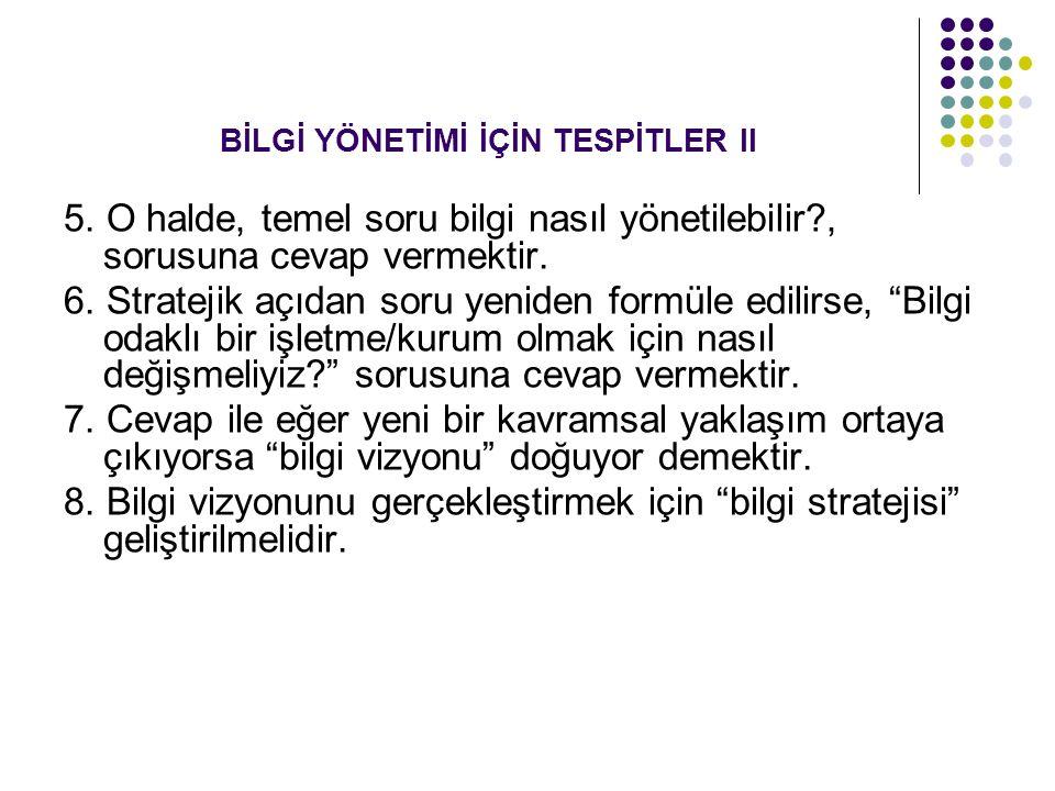 BİLGİ YÖNETİMİ İÇİN TESPİTLER II