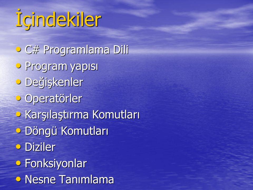 İçindekiler C# Programlama Dili Program yapısı Değişkenler Operatörler