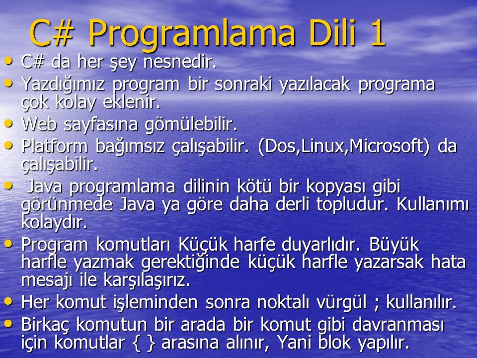 C# Programlama Dili 1 C# da her şey nesnedir.