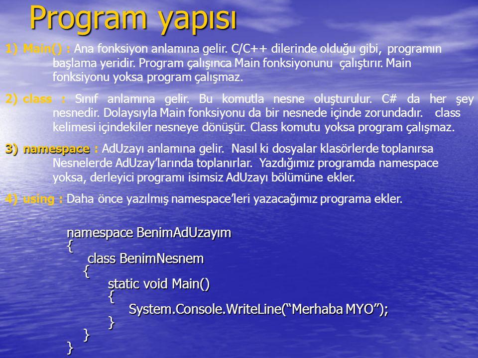 Program yapısı namespace BenimAdUzayım { class BenimNesnem