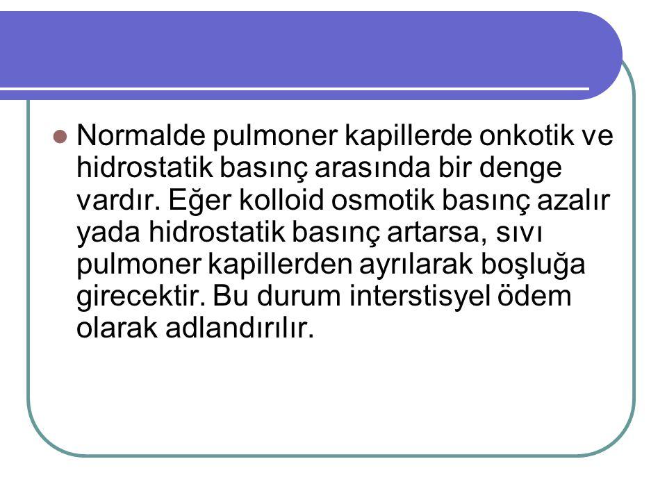 Normalde pulmoner kapillerde onkotik ve hidrostatik basınç arasında bir denge vardır.