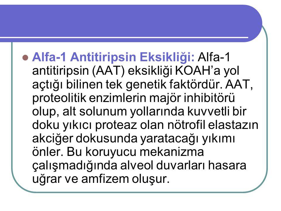 Alfa-1 Antitiripsin Eksikliği: Alfa-1 antitiripsin (AAT) eksikliği KOAH'a yol açtığı bilinen tek genetik faktördür.