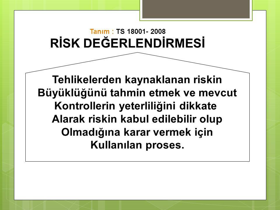 RİSK DEĞERLENDİRMESİ Tehlikelerden kaynaklanan riskin