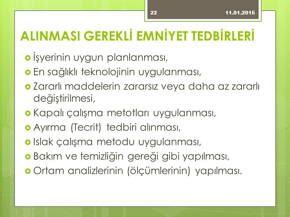 ALINMASI GEREKLİ EMNİYET TEDBİRLERİ
