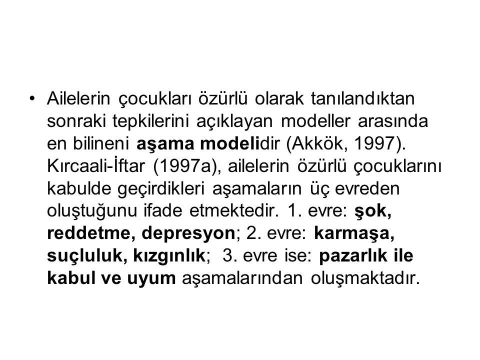 Ailelerin çocukları özürlü olarak tanılandıktan sonraki tepkilerini açıklayan modeller arasında en bilineni aşama modelidir (Akkök, 1997).