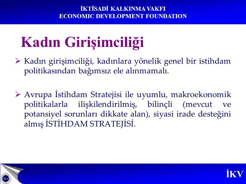 Kadın Girişimciliği Kadın girişimciliği, kadınlara yönelik genel bir istihdam politikasından bağımsız ele alınmamalı.