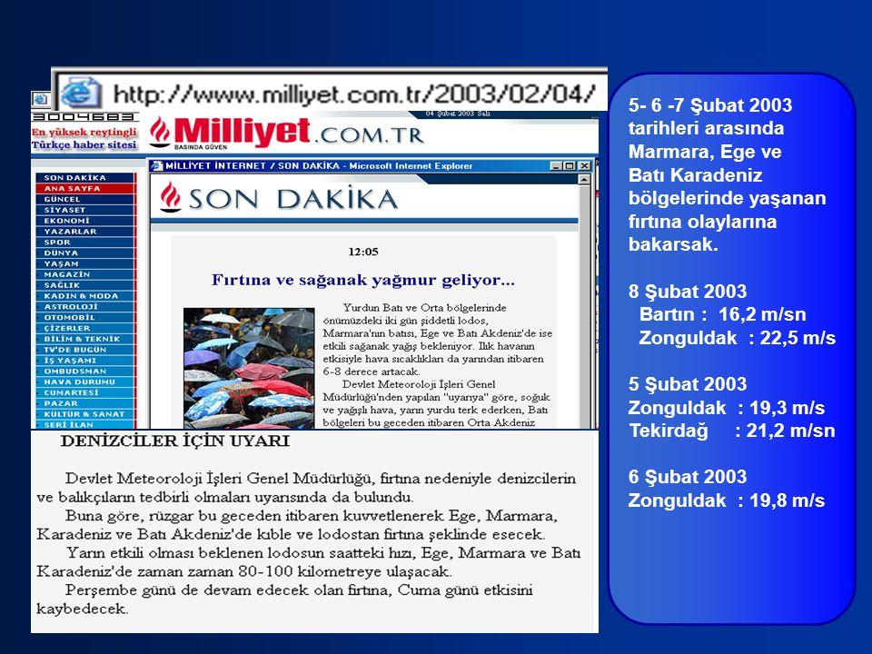 5- 6 -7 Şubat 2003 tarihleri arasında. Marmara, Ege ve. Batı Karadeniz. bölgelerinde yaşanan. fırtına olaylarına.