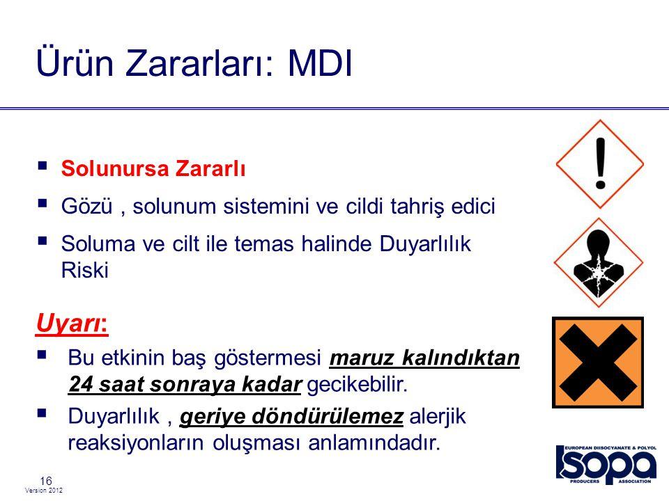 Ürün Zararları: MDI Uyarı: Solunursa Zararlı