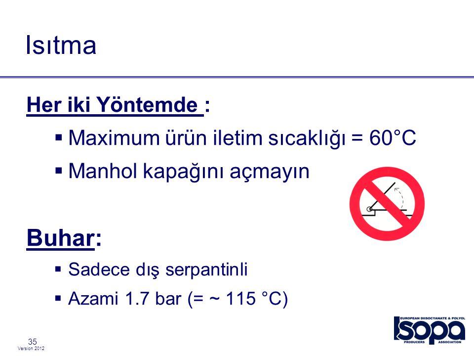 Isıtma Buhar: Her iki Yöntemde : Maximum ürün iletim sıcaklığı = 60°C