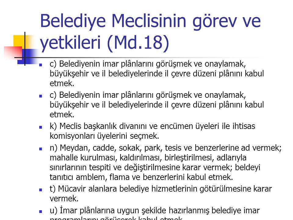 Belediye Meclisinin görev ve yetkileri (Md.18)