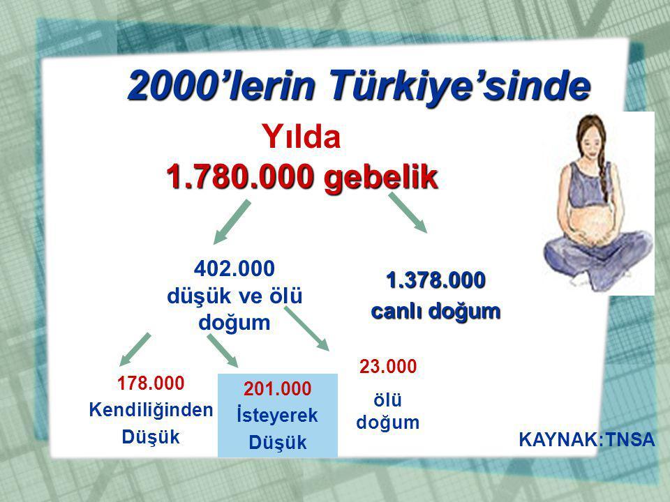 2000'lerin Türkiye'sinde Yılda 1.780.000 gebelik