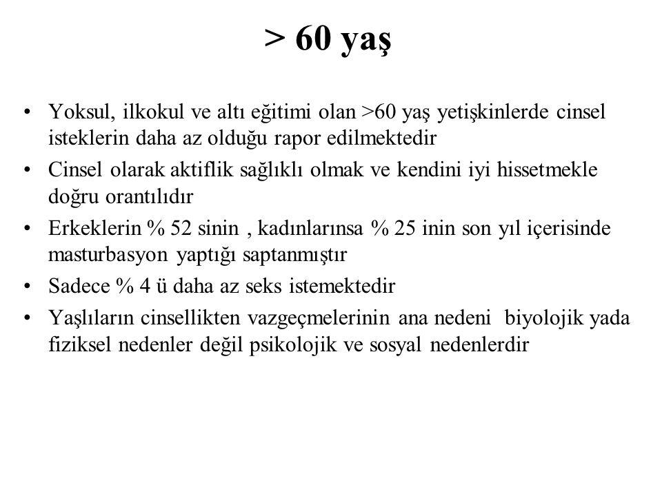 > 60 yaş Yoksul, ilkokul ve altı eğitimi olan >60 yaş yetişkinlerde cinsel isteklerin daha az olduğu rapor edilmektedir.