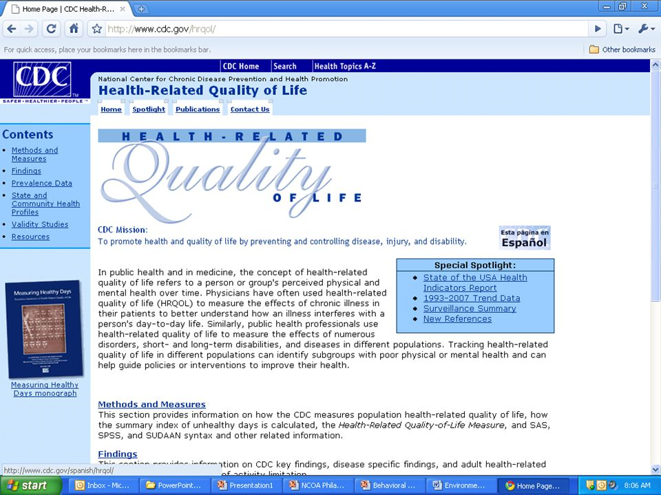 This is CDC's HRQOL Surveillance Program's homepage.