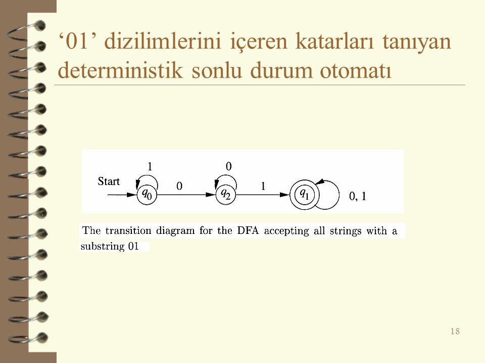 '01' dizilimlerini içeren katarları tanıyan deterministik sonlu durum otomatı