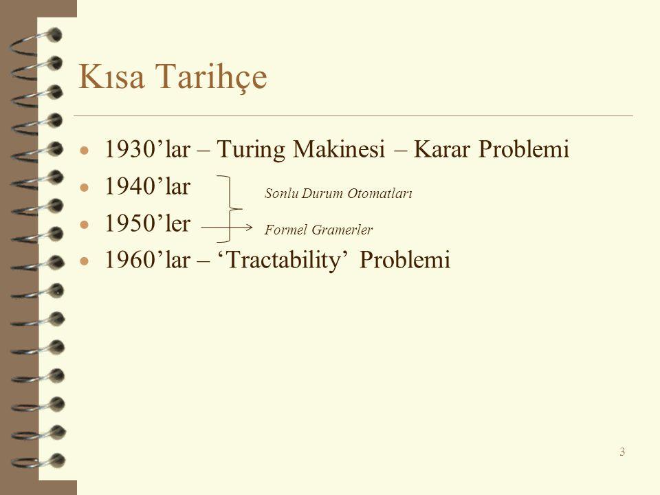 Kısa Tarihçe 1930'lar – Turing Makinesi – Karar Problemi 1940'lar
