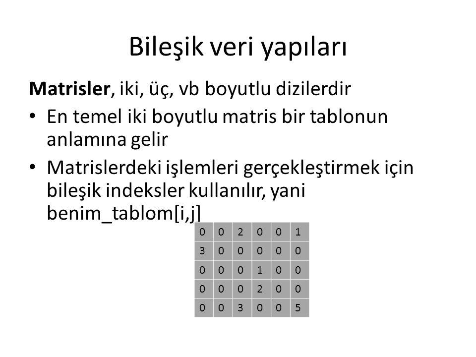 Bileşik veri yapıları Matrisler, iki, üç, vb boyutlu dizilerdir
