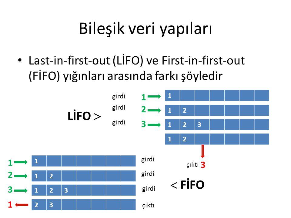 Bileşik veri yapıları Last-in-first-out (LİFO) ve First-in-first-out (FİFO) yığınları arasında farkı şöyledir.