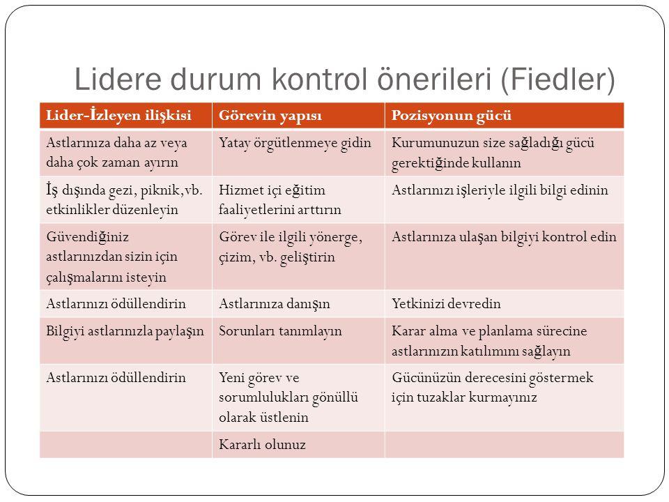 Lidere durum kontrol önerileri (Fiedler)