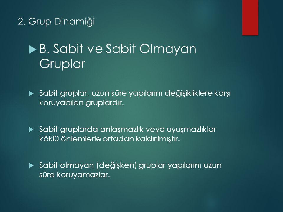B. Sabit ve Sabit Olmayan Gruplar