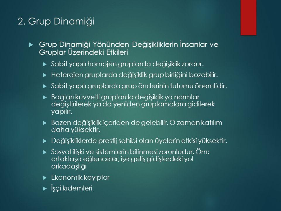 2. Grup Dinamiği Grup Dinamiği Yönünden Değişikliklerin İnsanlar ve Gruplar Üzerindeki Etkileri. Sabit yapılı homojen gruplarda değişiklik zordur.