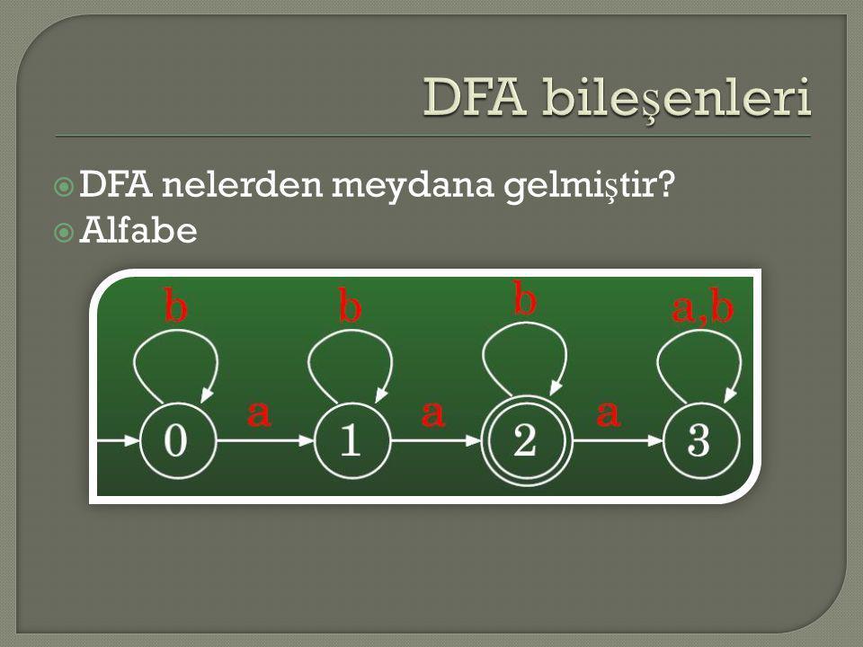 DFA bileşenleri DFA nelerden meydana gelmiştir Alfabe