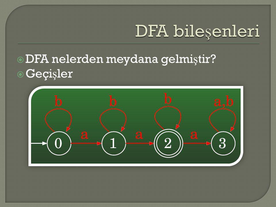 DFA bileşenleri DFA nelerden meydana gelmiştir Geçişler