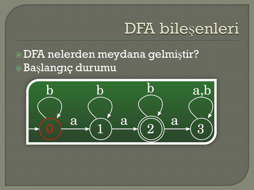 DFA bileşenleri DFA nelerden meydana gelmiştir Başlangıç durumu