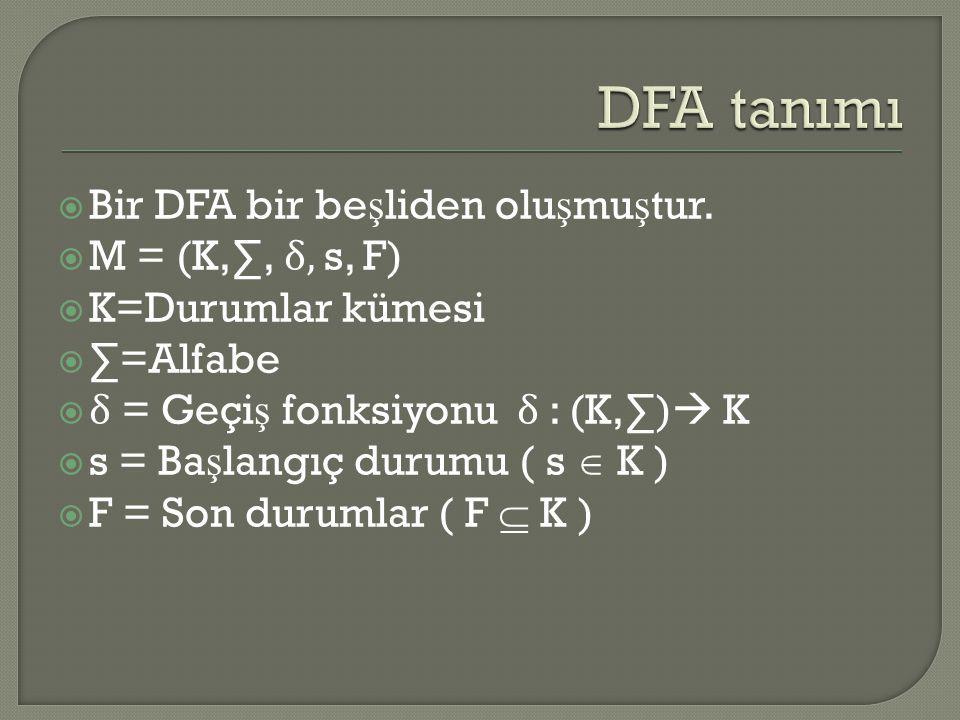 DFA tanımı Bir DFA bir beşliden oluşmuştur. M = (K,∑, δ, s, F)