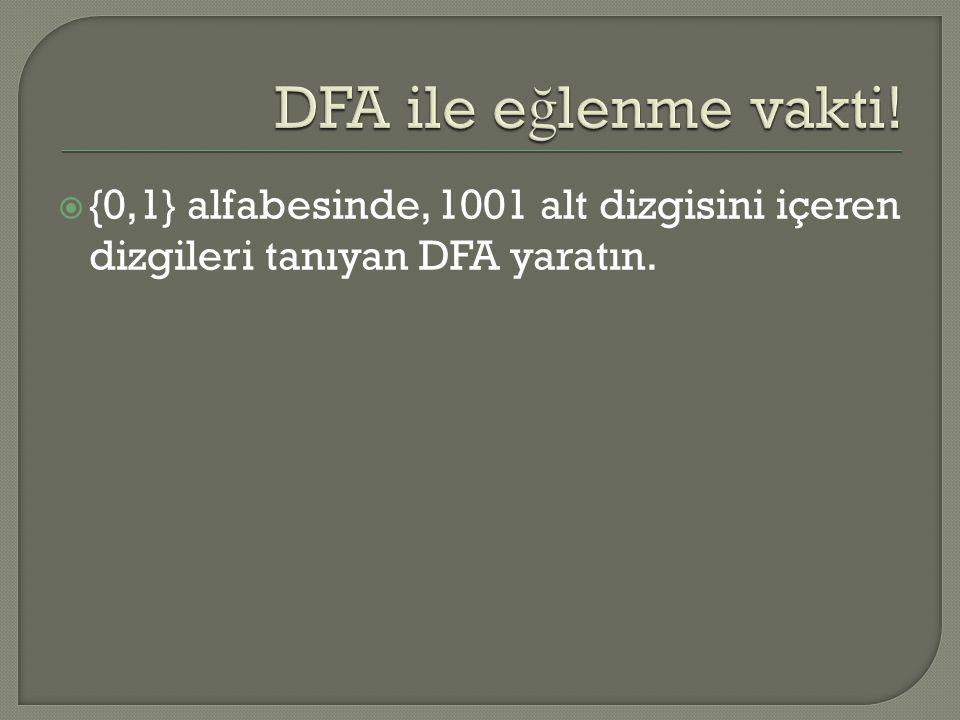 DFA ile eğlenme vakti! {0,1} alfabesinde, 1001 alt dizgisini içeren dizgileri tanıyan DFA yaratın.