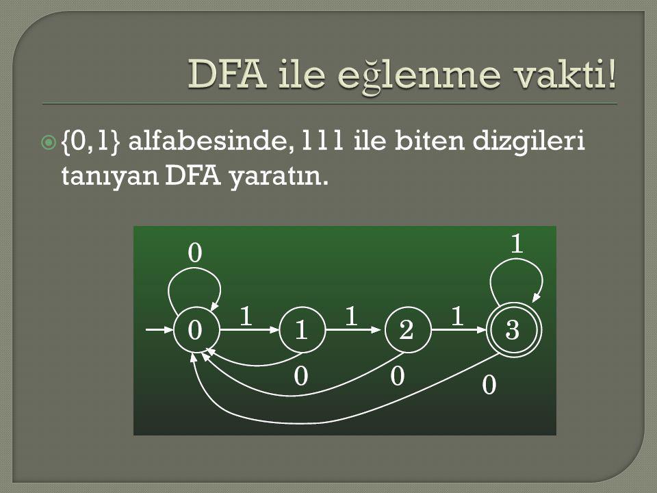DFA ile eğlenme vakti! {0,1} alfabesinde, 111 ile biten dizgileri tanıyan DFA yaratın.