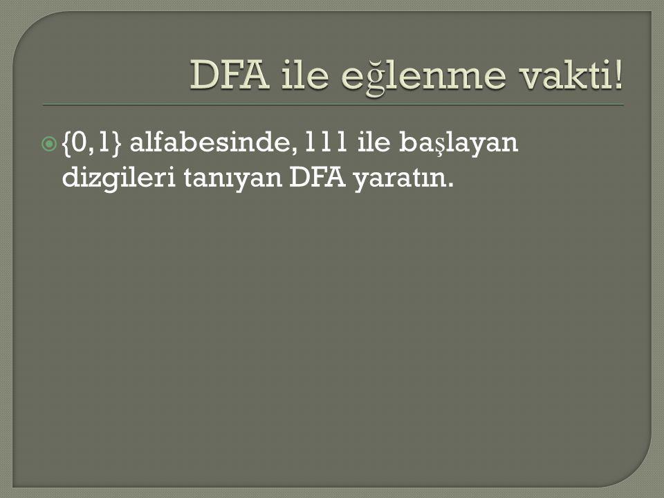 DFA ile eğlenme vakti! {0,1} alfabesinde, 111 ile başlayan dizgileri tanıyan DFA yaratın.