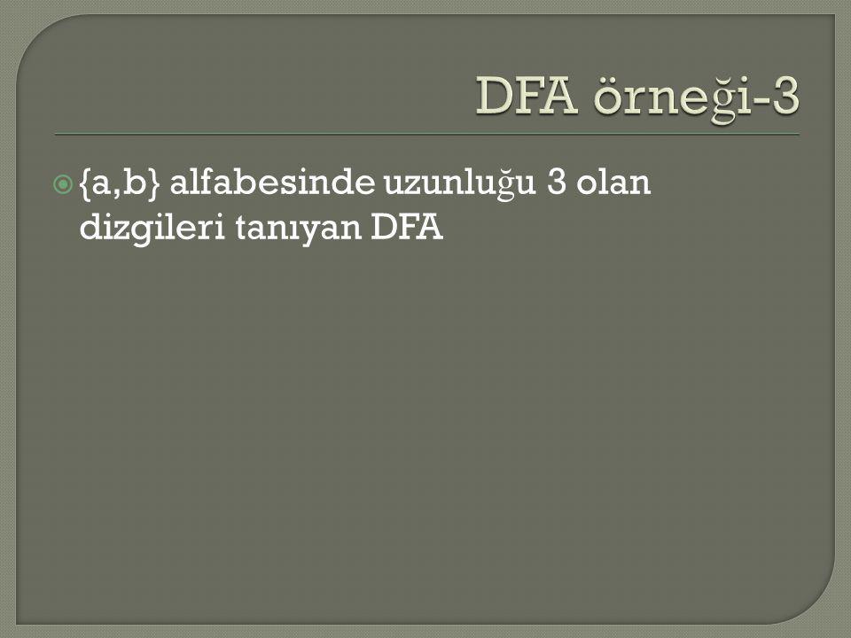 DFA örneği-3 {a,b} alfabesinde uzunluğu 3 olan dizgileri tanıyan DFA