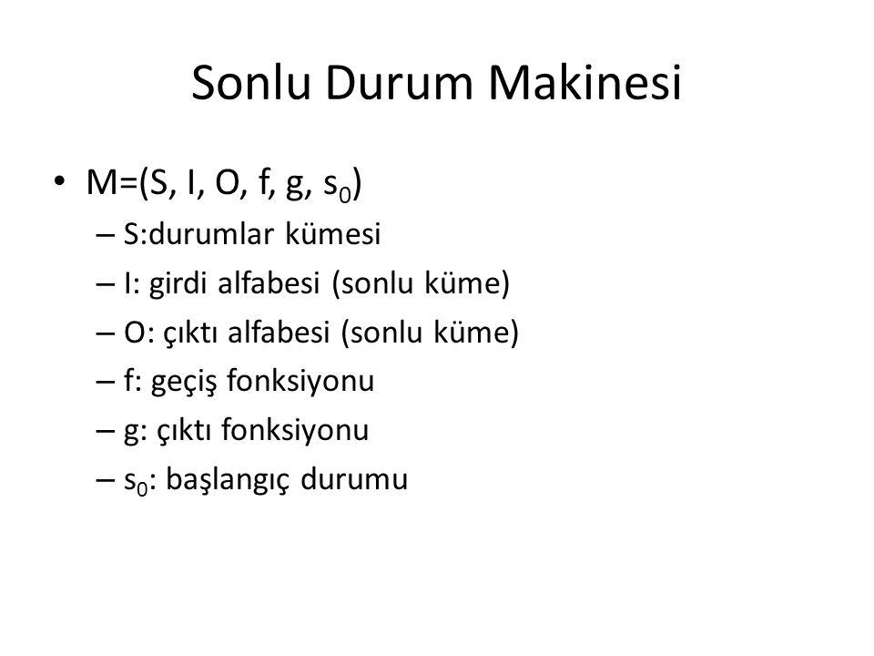 Sonlu Durum Makinesi M=(S, I, O, f, g, s0) S:durumlar kümesi