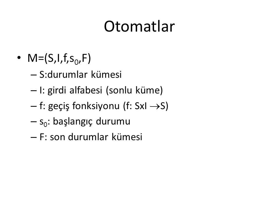 Otomatlar M=(S,I,f,s0,F) S:durumlar kümesi