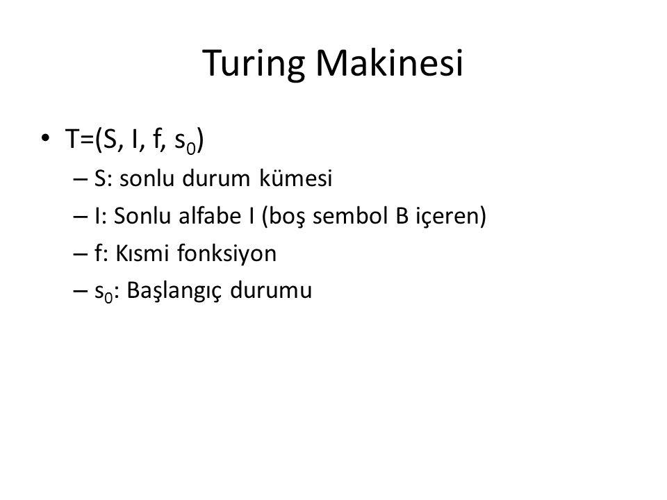 Turing Makinesi T=(S, I, f, s0) S: sonlu durum kümesi
