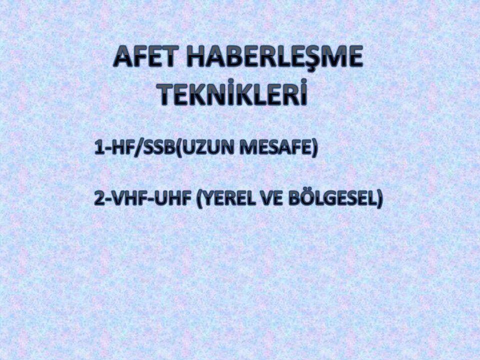 AFET HABERLEŞME TEKNİKLERİ 1-HF/SSB(UZUN MESAFE)
