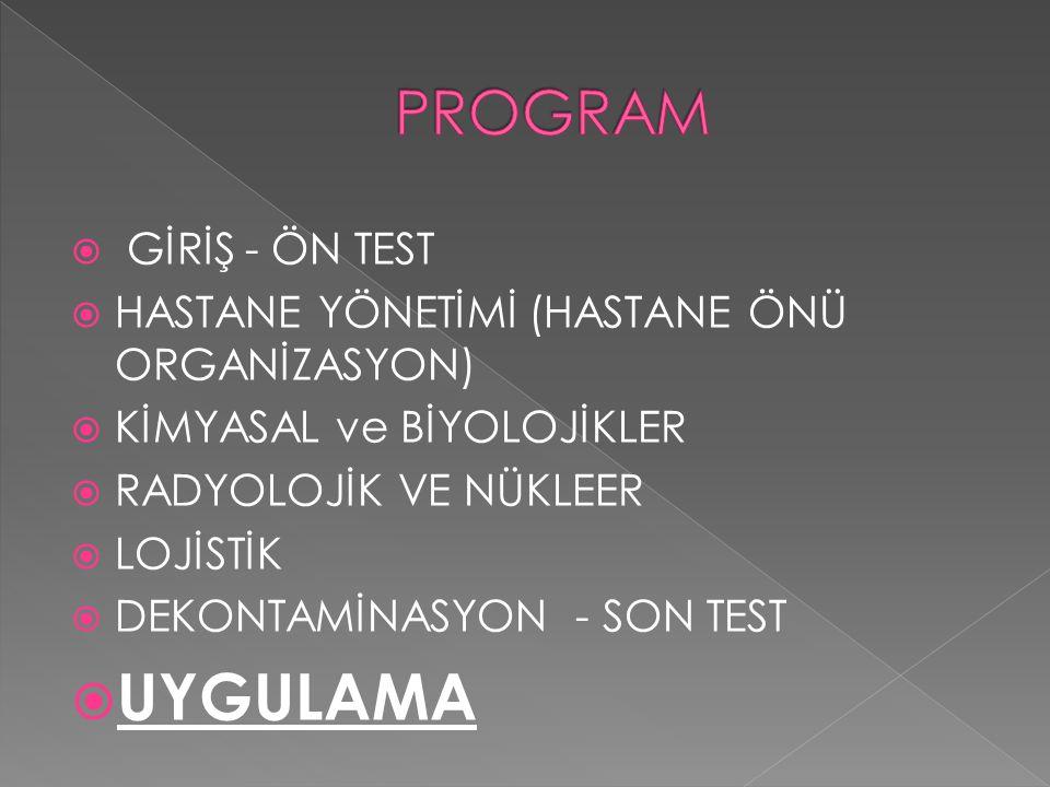 UYGULAMA PROGRAM GİRİŞ - ÖN TEST
