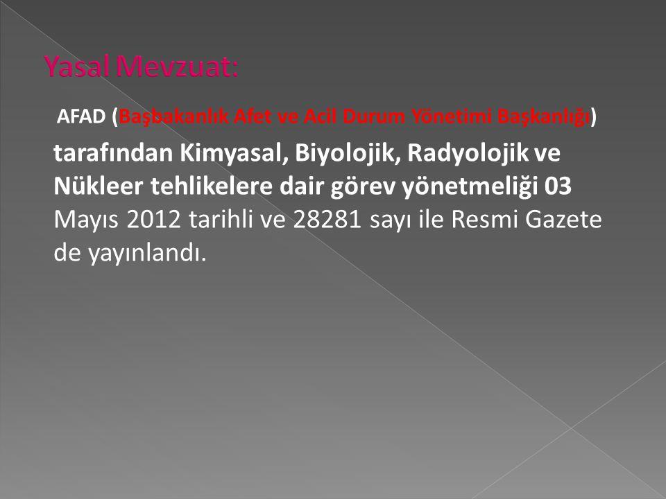 Yasal Mevzuat: AFAD (Başbakanlık Afet ve Acil Durum Yönetimi Başkanlığı)