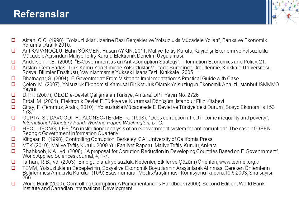 Referanslar Aktan, C.C. (1998), Yolsuzluklar Üzerine Bazı Gerçekler ve Yolsuzlukla Mücadele Yolları , Banka ve Ekonomik Yorumlar, Aralık 2010.