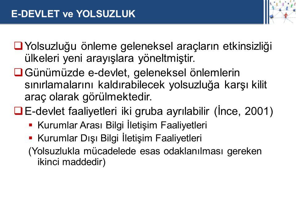 E-devlet faaliyetleri iki gruba ayrılabilir (İnce, 2001)