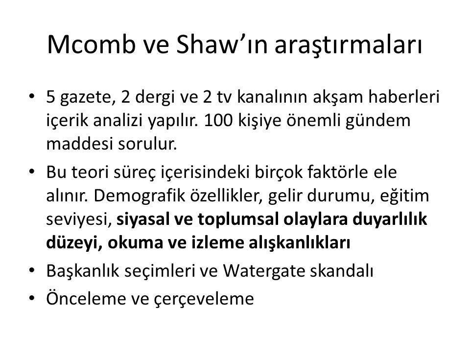 Mcomb ve Shaw'ın araştırmaları