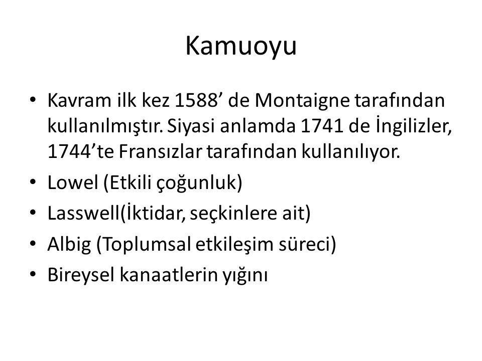 Kamuoyu Kavram ilk kez 1588' de Montaigne tarafından kullanılmıştır. Siyasi anlamda 1741 de İngilizler, 1744'te Fransızlar tarafından kullanılıyor.