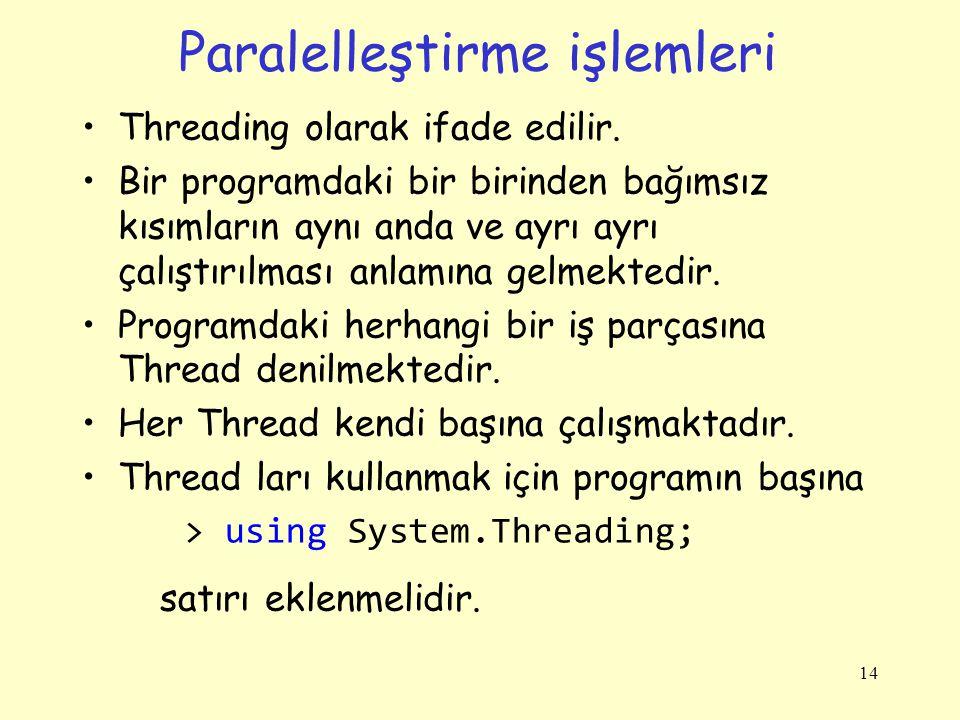 Paralelleştirme işlemleri