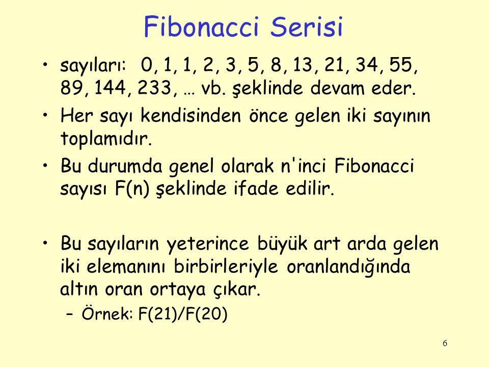 Fibonacci Serisi sayıları: 0, 1, 1, 2, 3, 5, 8, 13, 21, 34, 55, 89, 144, 233, … vb. şeklinde devam eder.